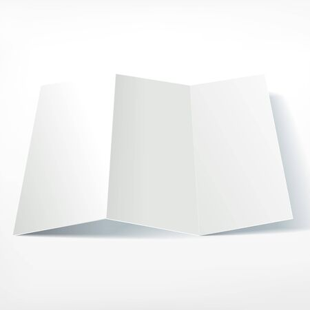 unfolded: Blank white folding paper leaflet. Presentation template of leaflet design. Flyer mock up insitu