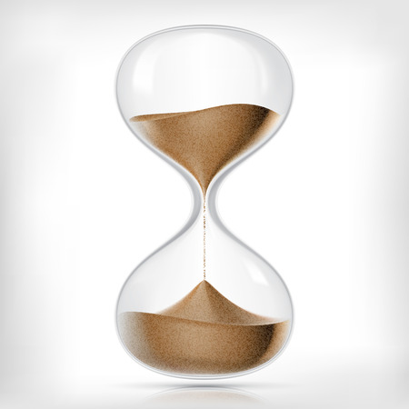 Vector transparent sand hourglass isolated on white background. Simple and elegant sand-glass timer. Sand clock icon 3d illustration Ilustracja