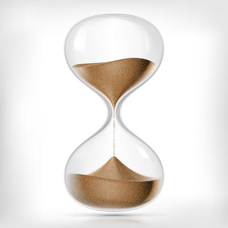 orologi antichi: Vettore trasparente clessidra sabbia isolato su sfondo bianco. Semplice ed elegante clessidra di vetro. Sabbia orologio icona illustrazione 3d