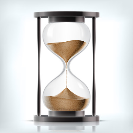countdown clock: Vector transparent sand hourglass isolated on white background. Simple and elegant sand-glass timer. Sand clock icon 3d illustration Illustration