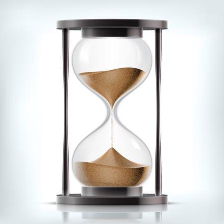 Wektor przejrzysty piasek klepsydry na białym tle. Prosty i elegancki zegar piasek szkła. Piasek ikona zegara 3d ilustracji
