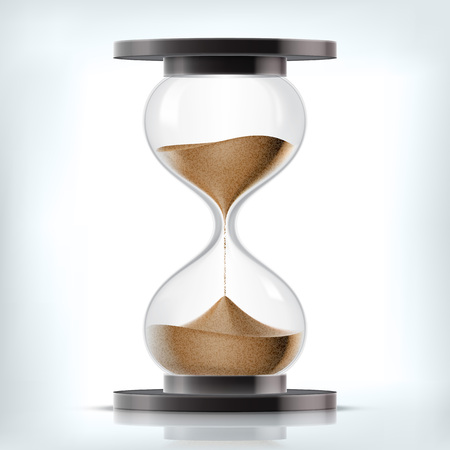sand grains: Vector transparent sand hourglass isolated on white background. Simple and elegant sand-glass timer. Sand clock icon 3d illustration Illustration