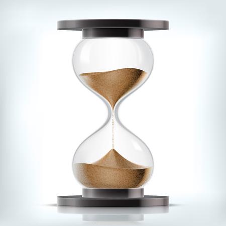 Vettore trasparente clessidra sabbia isolato su sfondo bianco. Semplice ed elegante clessidra di vetro. Sabbia orologio icona illustrazione 3d Vettoriali