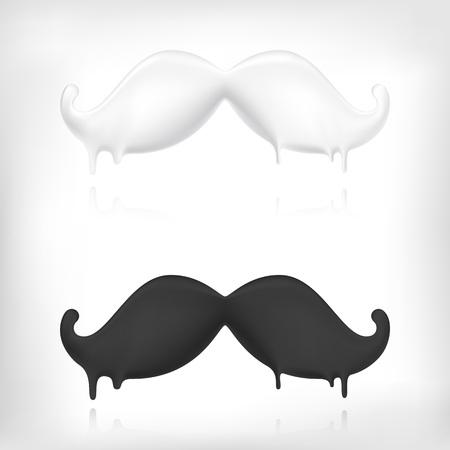 bigote: Bigote historieta del vintage divertido. Burbuja icono volumed estilo Vectores