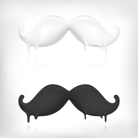 white moustache: Funny vintage cartoon mustache. Bubble styled volumed icon