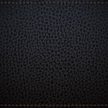 texture leather: Black natural leather texture background with stich Illustration