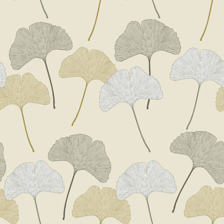 Ginko leaves floral imprint ornament. Seamless interior wallpaper