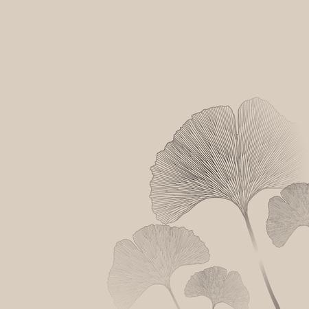 line art: Ginko deja huella ornamento floral. Papel tapiz de interiores