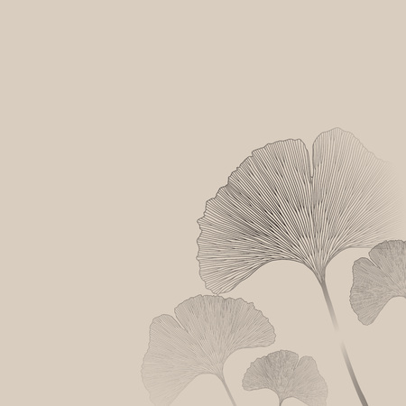 line drawing: Ginko leaves floral imprint ornament. Seamless interior wallpaper
