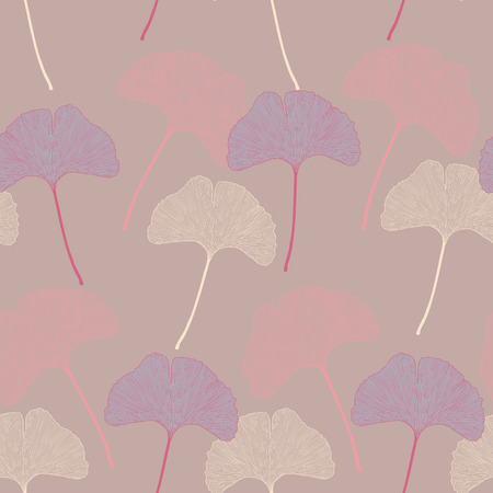 vintage flower: Ginko leaves floral imprint ornament. Seamless interior wallpaper