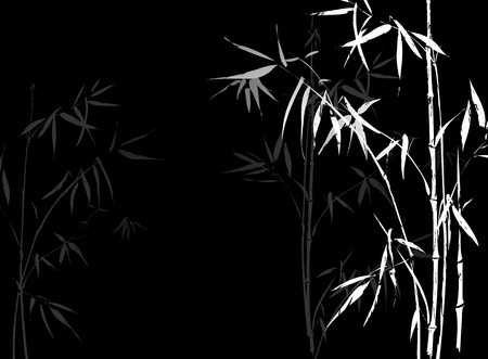 bamboo leaf: White Bamboo branches imprint on black background. Japanese Chinese elements in asian ornament style.