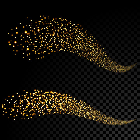 gold glittering stars dust tail twinkling glitter. Illustration