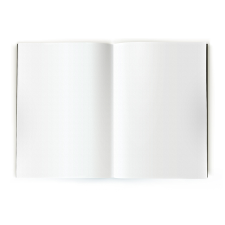 Open white magazine catalog double-page spread Stockfoto