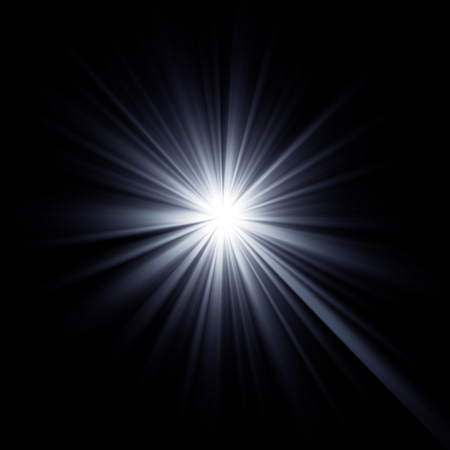 light beams: Shining star bursting with beams. Explosion rays light optical effect. Stock Photo