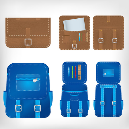packsack: illustration of school bags nad rucksacks