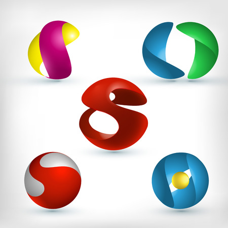 design icon: Abstract 3d curled and wavy sphere shape icons set Illustration