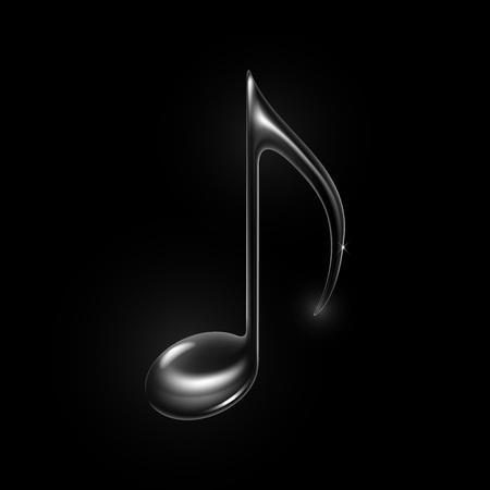 musical note: vidrio m�sica metal nota aislada sobre fondo negro. Vectores