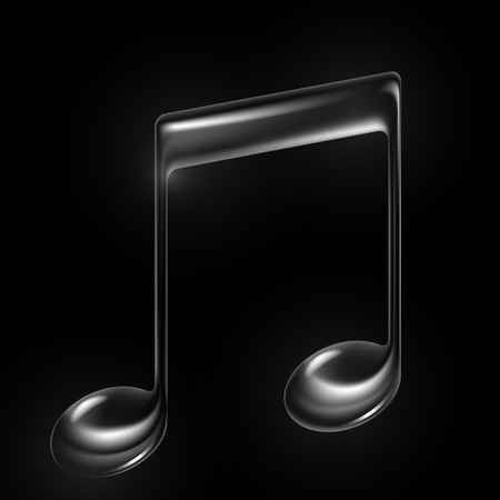 music stave: metal glass music note isolated on black background.