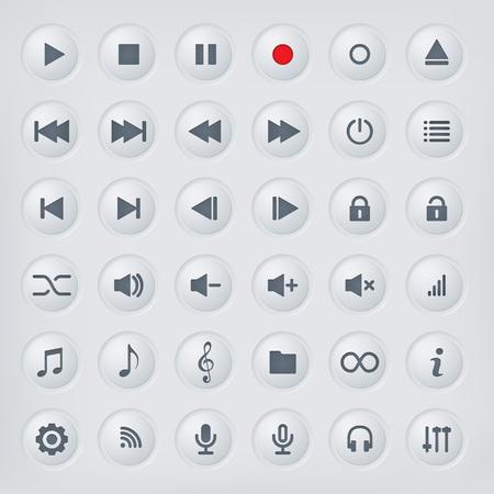 Colección de botones de control del reproductor multimedia. Botones de metal pulido con los símbolos de los medios musicales.