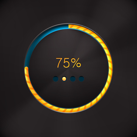 preloader: Round preloading progress bar on black background with yellow-orange buffering indicator. Web preloader