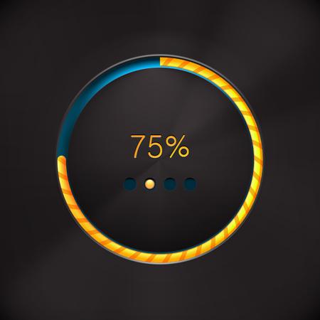 Round preloading progress bar on black background with yellow-orange buffering indicator. Web preloader