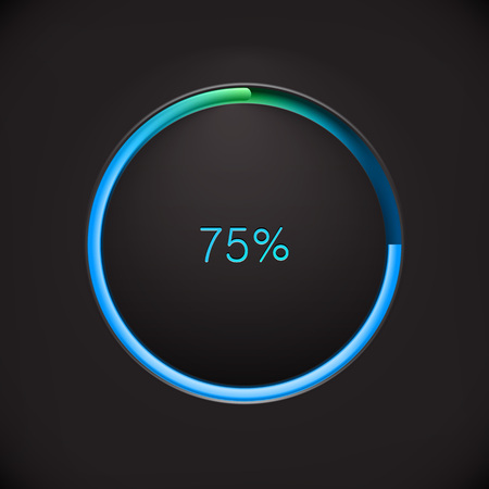 preloader: Round preloading progress bar on black background with blue buffering indicator. Web preloader. Download bar Illustration