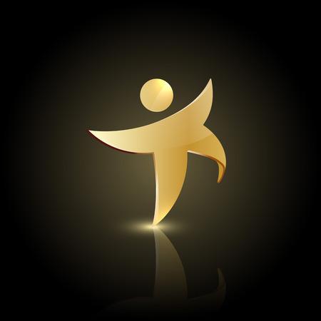 Forma el hombre de oro en el icono de movimiento. Símbolo feliz o bailar Vectores