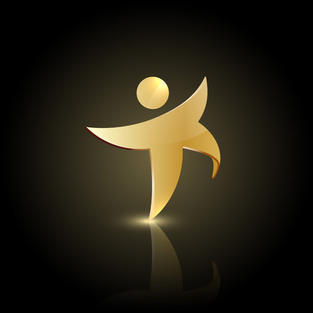 sports winner: Golden man shape in motion icon. Happy or dancing symbol