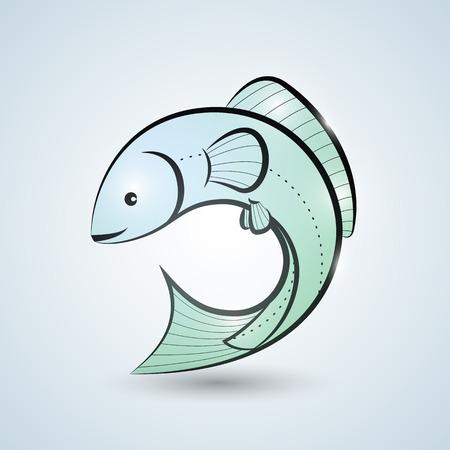 Main syle dessinée poissons icône modèle Banque d'images - 47832104