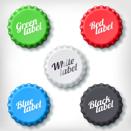 bottle opener: Colored bottle caps set on white background. Green, red, white, blue and black bottle cup. Illustration