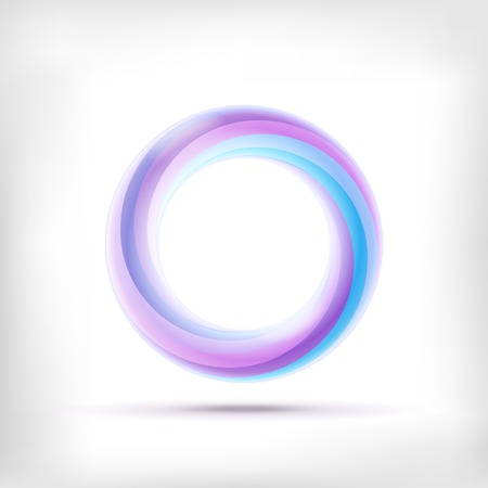 rainbow sphere: Infinity shape round dimensional circle icon. Lollipop style.