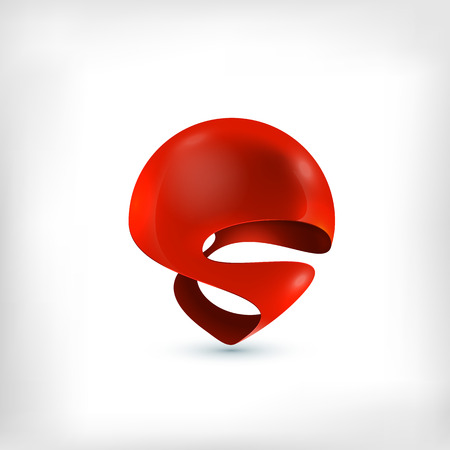 icon red: Abstract 3d sphere twirled dynamic icon