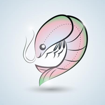 Hand drawn syle shrimp icon template Ilustração