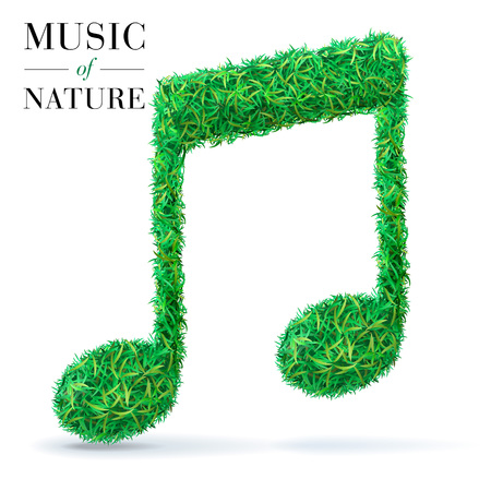 quavers: Green grass textured music note. Ecofest concept.