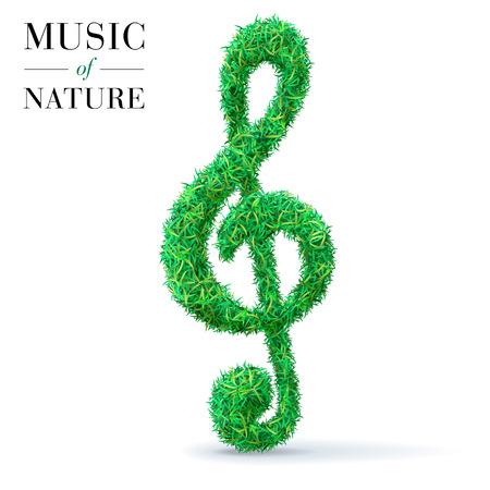 Green grass textured music note. Ecofest concept.