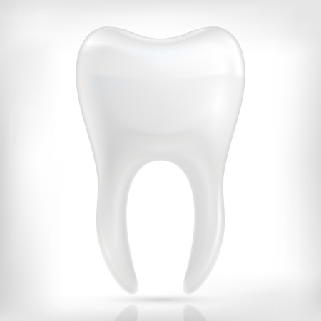 carious: Healthy white tooth icon isolated on white background.
