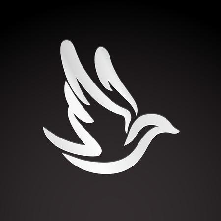dove: Volar paloma pájaro monocromo abstracto huella icono de plantilla