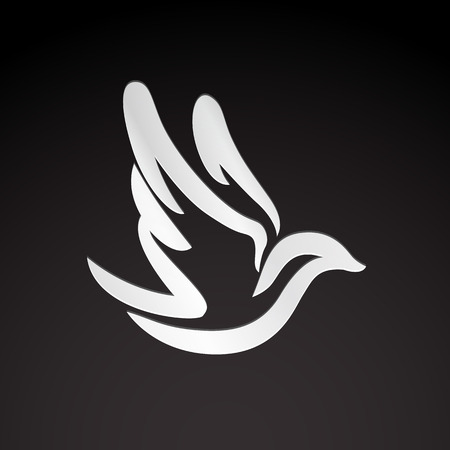 paloma: Volar paloma p�jaro monocromo abstracto huella icono de plantilla