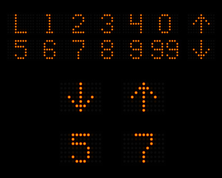 push room: Elevator LED indicator with numbers and arrows