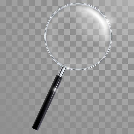 Vector lente di ingrandimento vetro con manico e con vera trasparenza