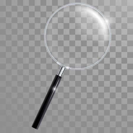 zvětšovací sklo: Vektor lupa sklo s uchem a s opravdovou průhlednost