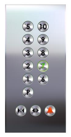 金属パネルのエレベーター制御ボタン