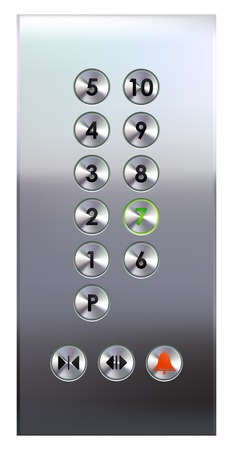 Elevator control buttons on metal panel