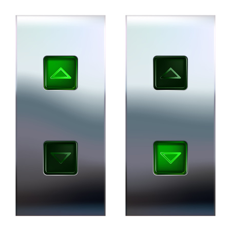 brushed steel: Elevator control buttons on metal panel