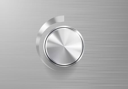 shiny buttons: Vector Volume Knob Controls on brushed metal plate