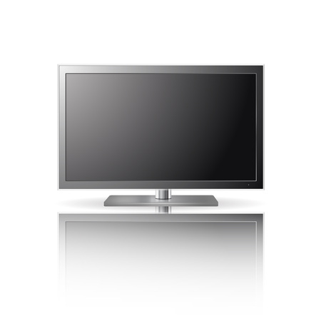 flat screen tv: LCD TV set with reflection
