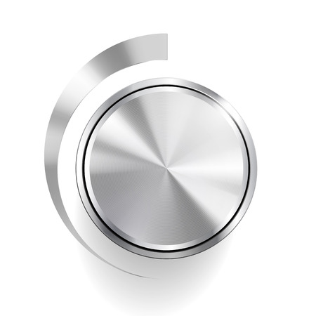 hush hush: Volume Knob Controls on brushed metal plate Illustration