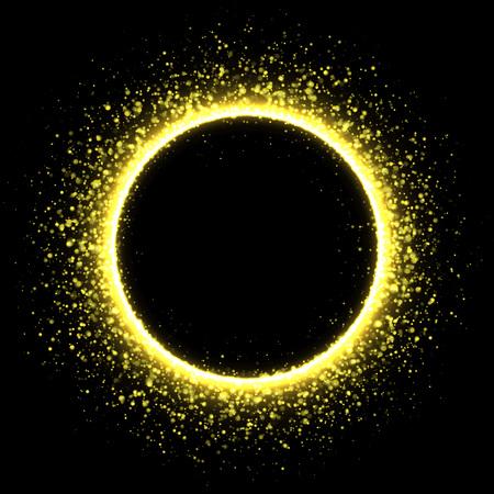 solar eclipse: Sparkling golden corona circle. Stardust solar eclipse.