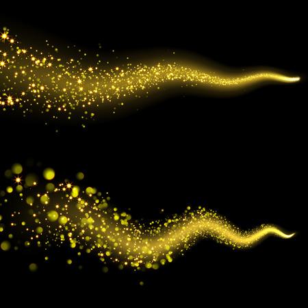 falling star: Vector golden sparkling falling star. Stardust trail. Cosmic glittering wave.