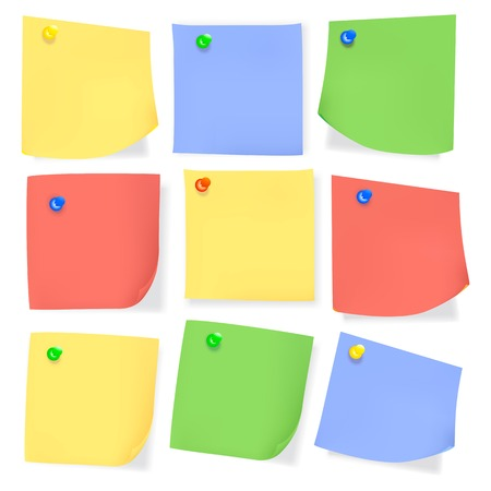 sticky paper: Sticky paper message memo note with color pins and curved angles